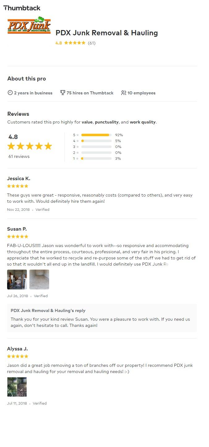 PDX Junk Removal Thumbtack, Thumbtack PDX Junk Removal