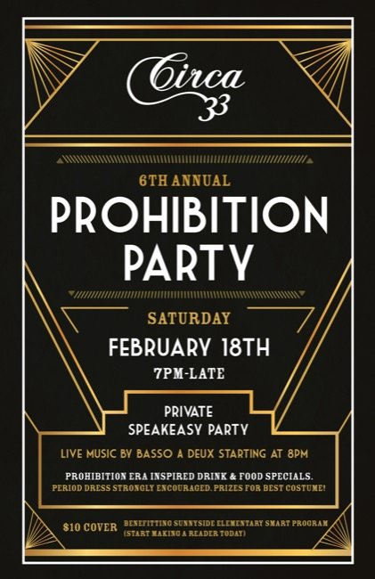 Prohibition Party Circa 33 Live Music By Jazz Duo