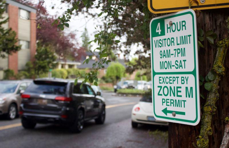 A parking permit sign in Northwest Portland.