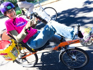 Angel York - Treasurer - On bike at Sunday Parkways