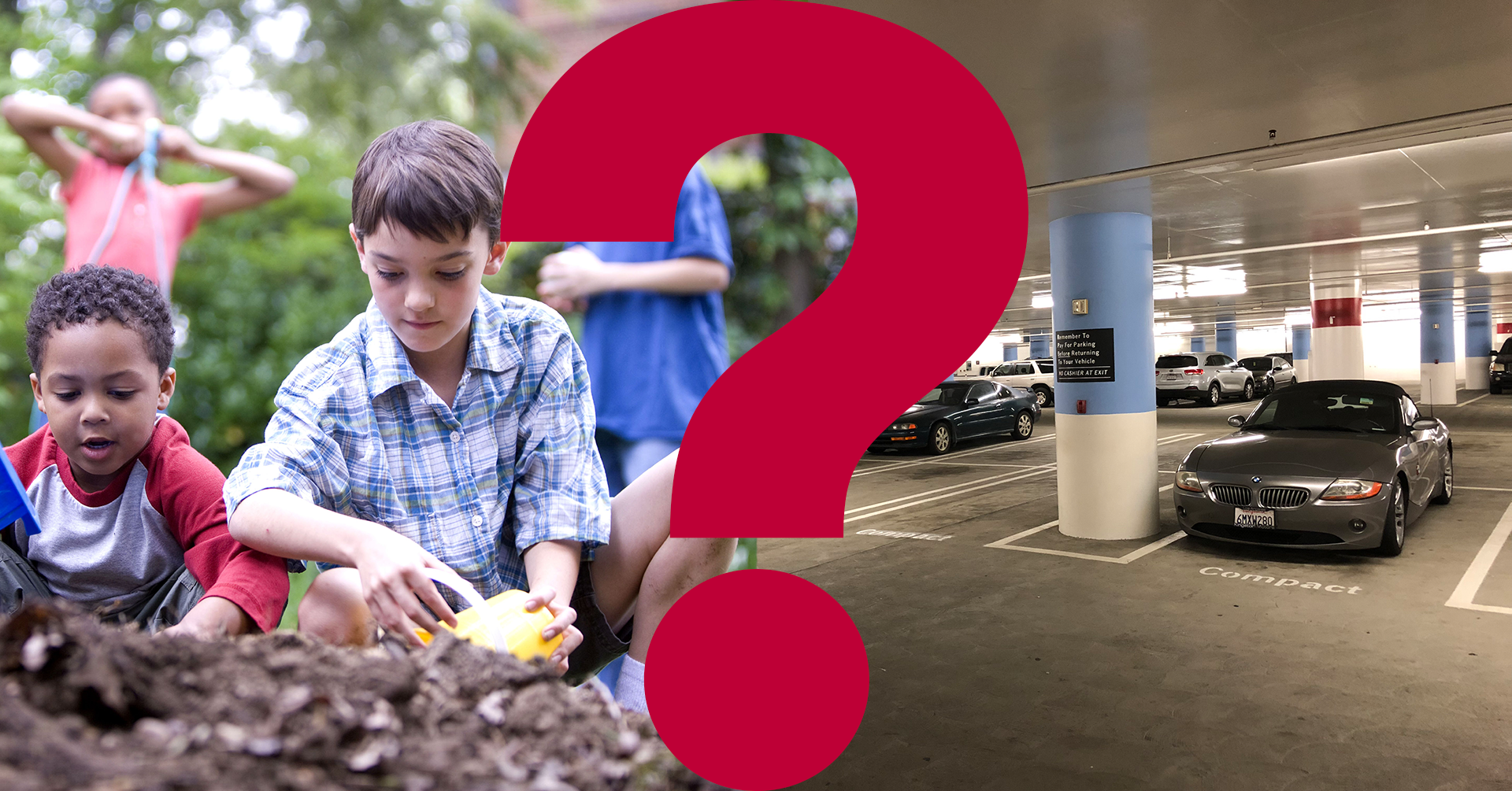 Children playing and a parking lot divided by a question mark.