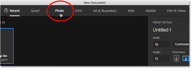 Choosing a document type from the menu in the New Document dialog box. Image © 2016 Steve Patterson, Photoshop Essentials.com