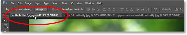Selecting the first tabbed document. Image © 2013 Photoshop Essentials.com