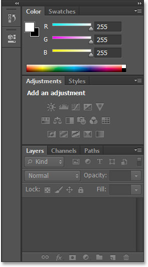 The panels in the Essentials workspace in Photoshop CS6. Image © 2013 Steve Patterson, Photoshop Essentials.com