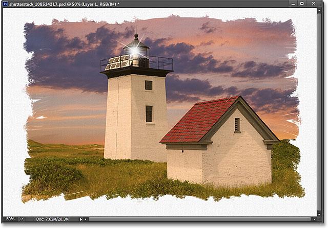 Một cạnh hiệu ứng biên giới ảnh vẽ trong Photoshop.  Hình ảnh © 2013 Photoshop Essentials.com