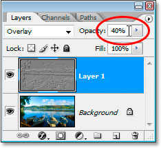 Lowering the opacity of the layer to 40%