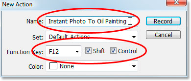 Photoshop's New Action dialog box