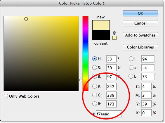 Replacing the black in the gradient with a different color. Image © 2014 Photoshop Essentials.com