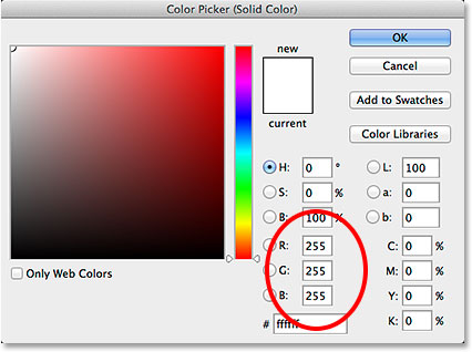 Choosing white from the Color Picker. Image © 2014 Photoshop Essentials.com