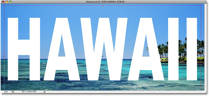 Use the Free Transform command in Photoshop to resize and reposition the text. Image © 2008 Photoshop Essentials.com.