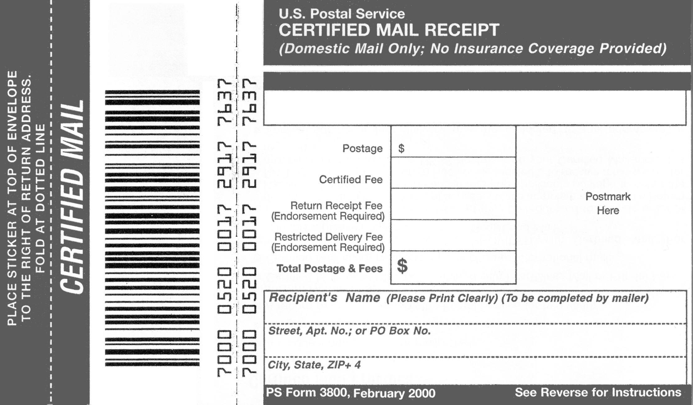 Usps Certified Mail Receipts