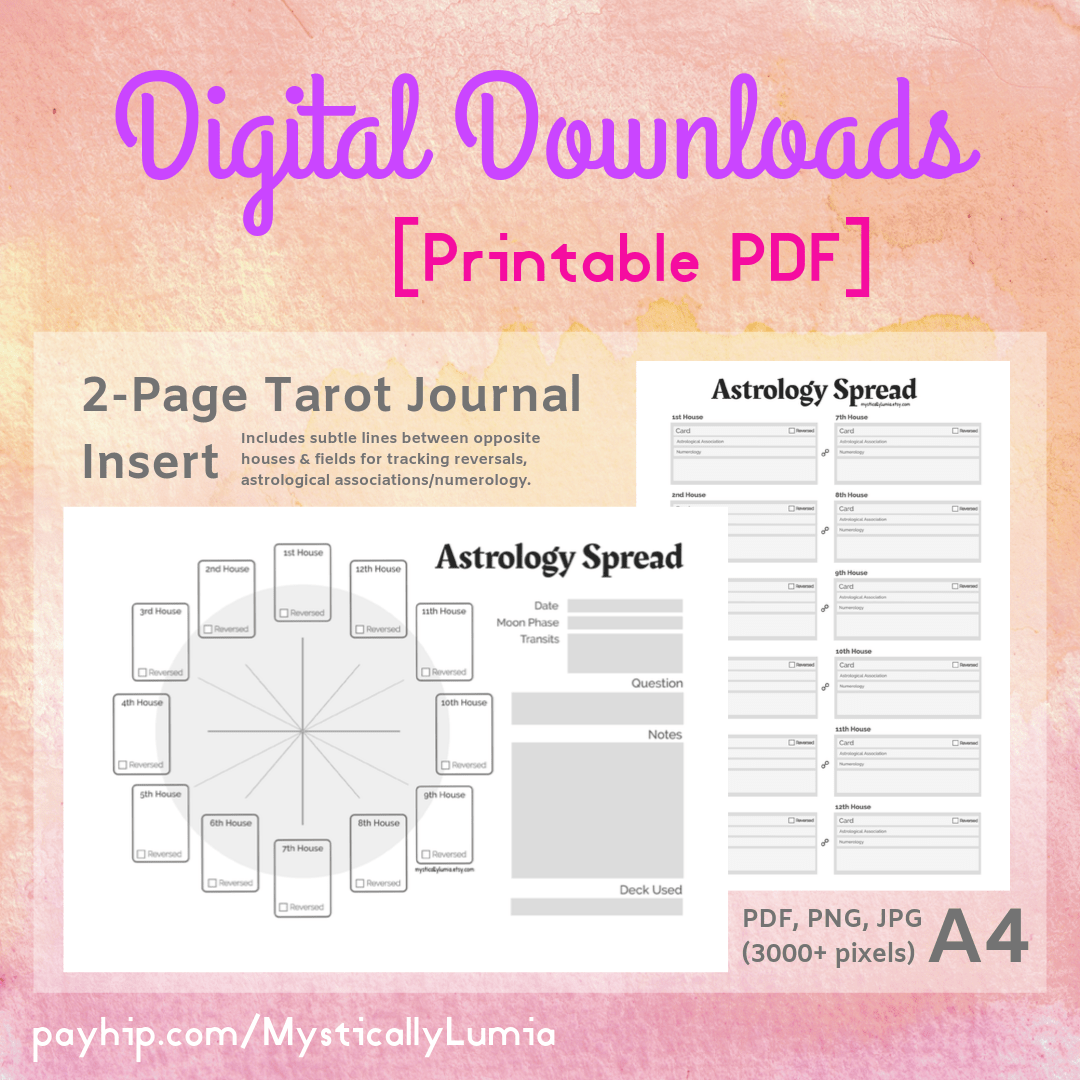 2 Page Printable Tarot Journal Insert Astrology Spread