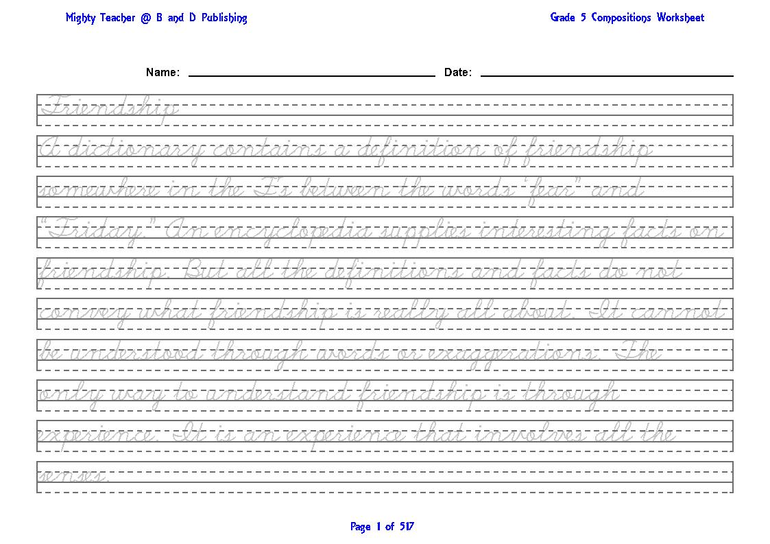 Grade 5 English Model Compositions Worksheet
