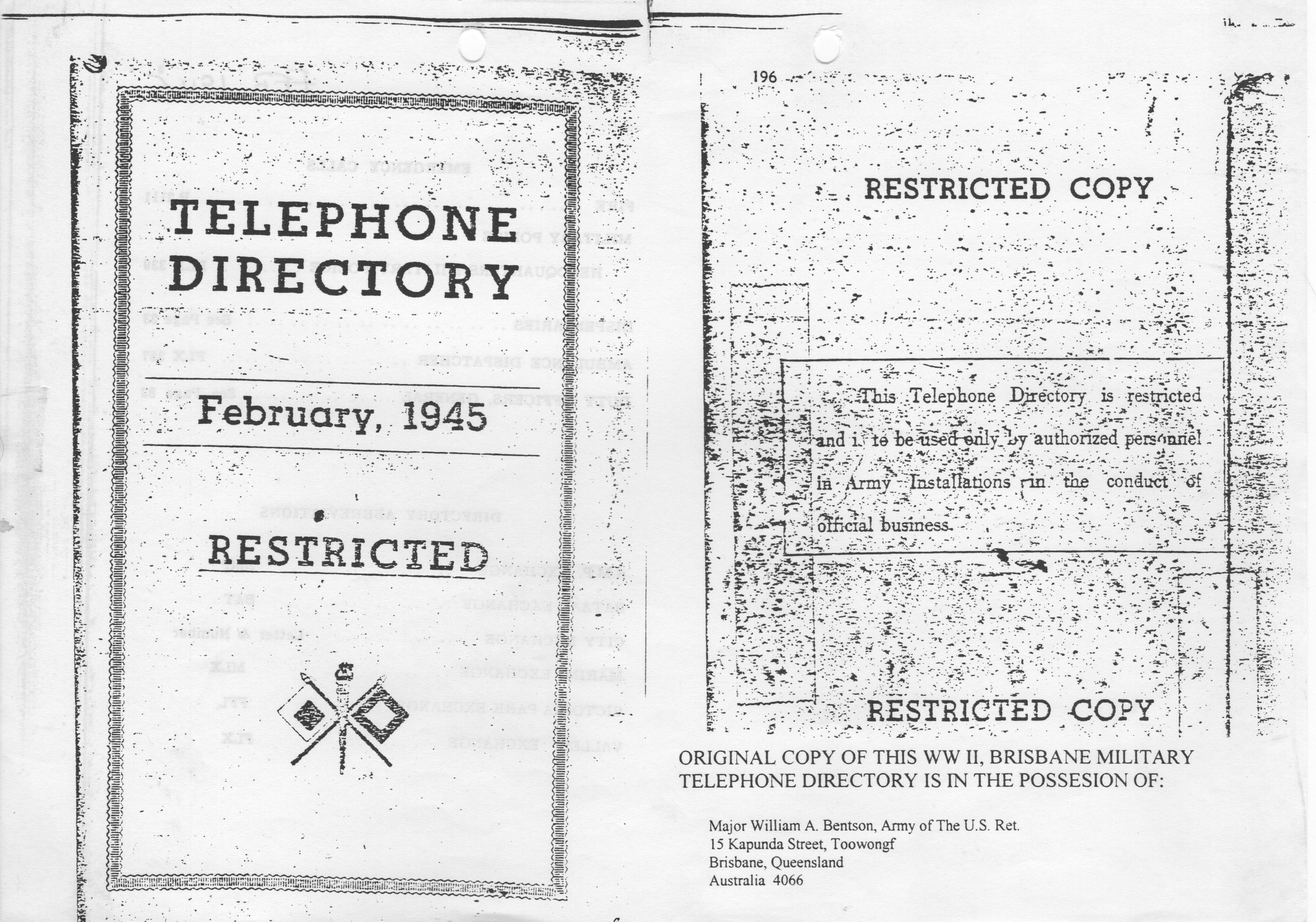 Brisbane Wwii Military Telephone Directory