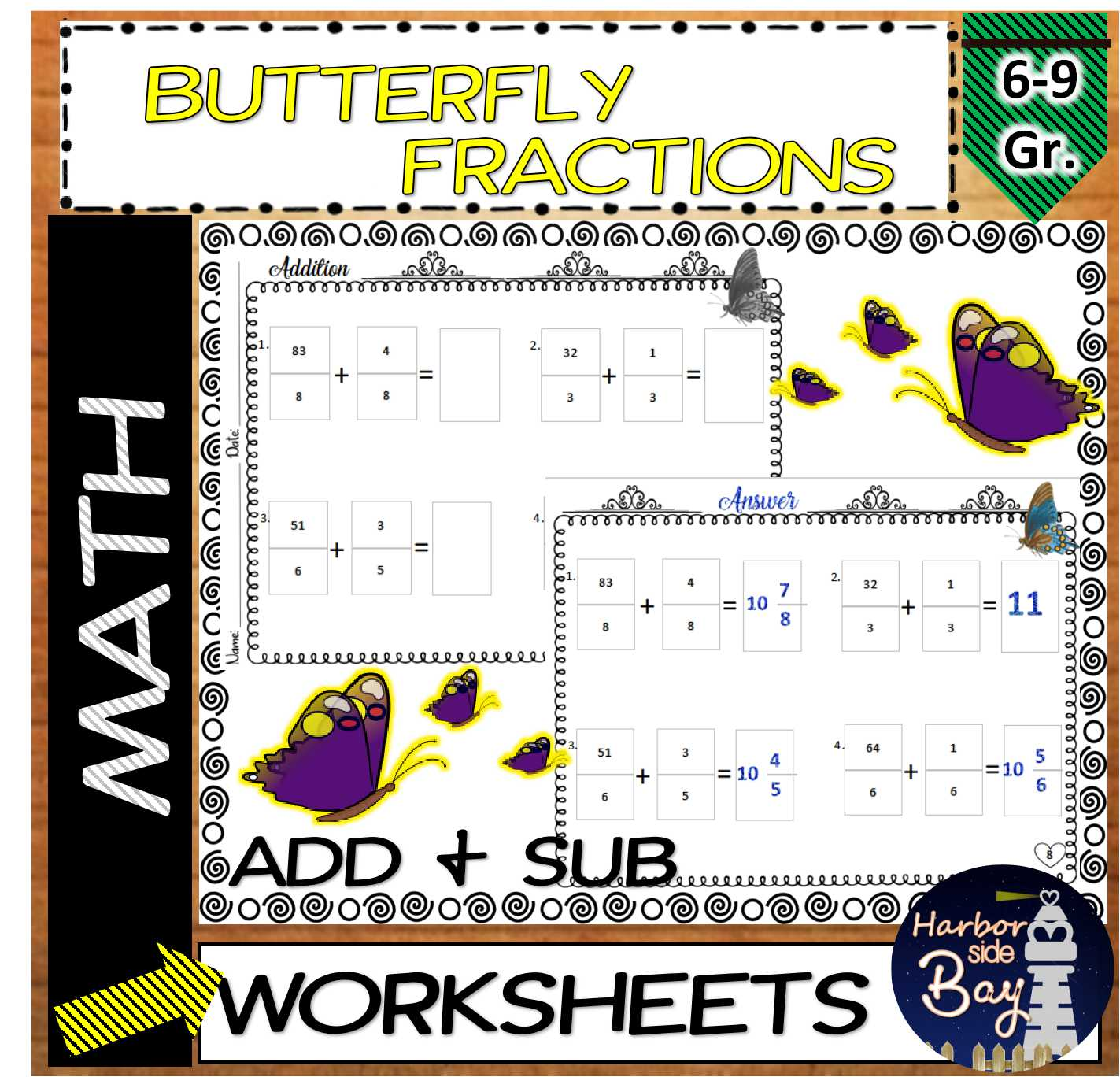Fractions Butterfly Addition And Subtraction Fractions