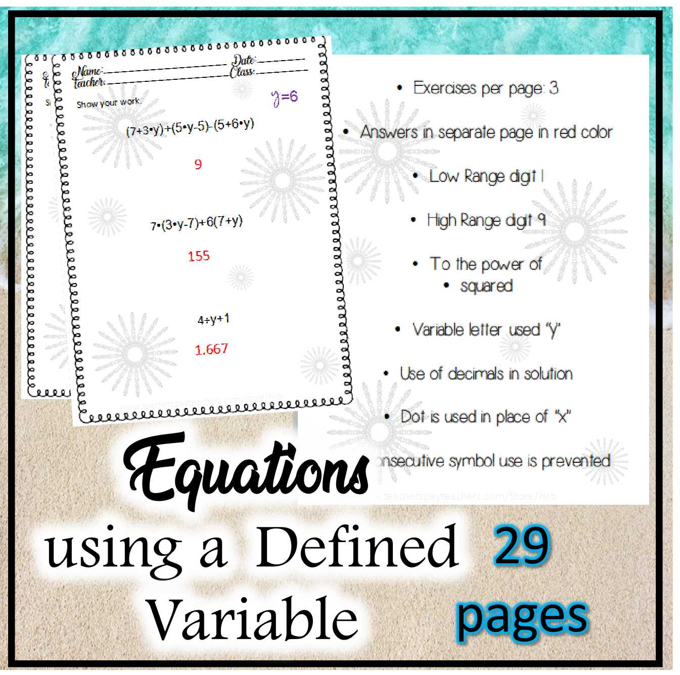 Equations And Defined Variable Worksheets