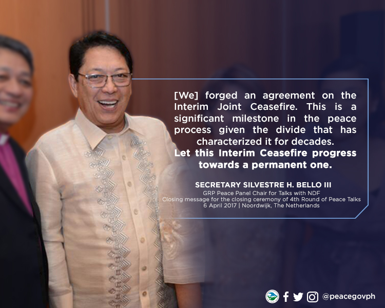 Closing Message of Secretary Silvestre H. Bello III on the occassion of the Closing Ceremony of the Fourth Round of Peace Talks