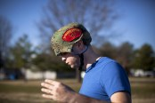 (7 of 7) Marine Cpl. Burness Britt walks on the grounds of the Hunter Holmes Medical Center in Richmond, Virginia, wearing a helmet protecting his head after part of his skull had been removed, on December 13, 2011. (AP Photo/Anja Niedringhaus) #