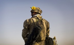 A Canadian soldier with the 1st RCR Battle Group, the Royal Canadian Regiment, patrols with a sunflower stuck to his helmet in the Panjwaii district, near Salavat, southwest of Kandahar, on September 9, 2010. (AP Photo/Anja Niedringhaus) #