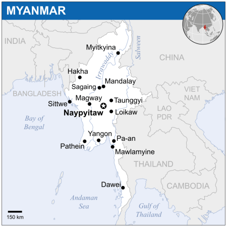 Myanmar map (Wikimedia commons)