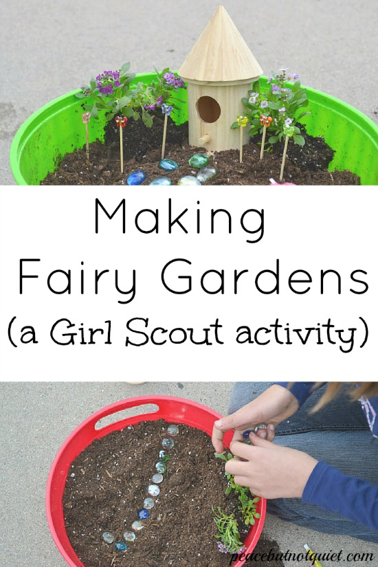 Need an activity to do with your Girl Scouts or other large group? Making fairy gardens is tons of fun, inspires children's creativity, and teaches them a lot as well!