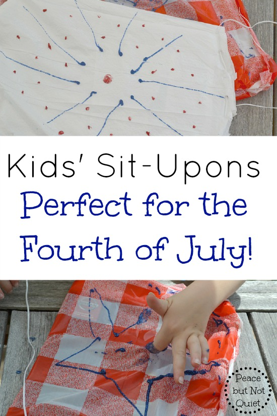 Make situpons for the Fourth of July with your kids! This simple craft lets them be creative, and leaves them with a useful seat for picnics or watching fireworks.