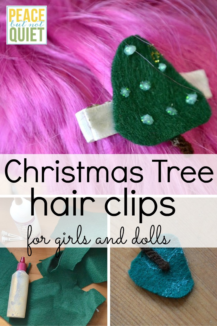 How to make matching Christmas tree hair clips for girls and their dolls. A fun Christmas craft!