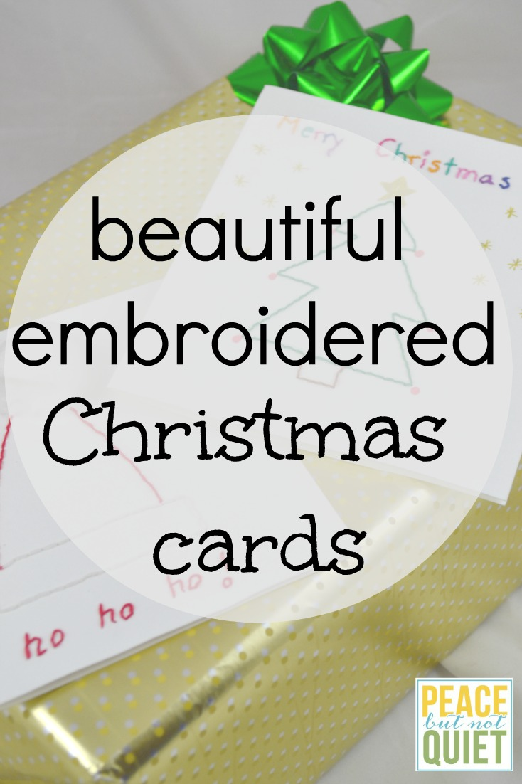 These beautiful embroidered Christmas cards are fun Christmas crafts to introduce sewing to kids.