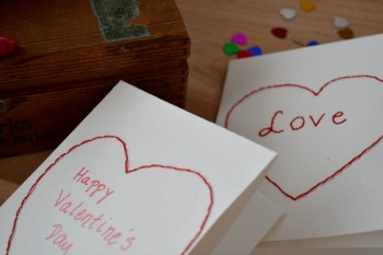 Embroidered Heart Valentine Cards