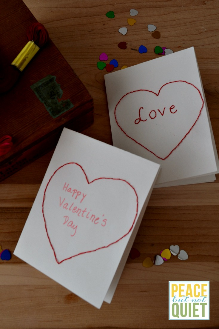 Embroidered heart valentine cards peace but not quiet