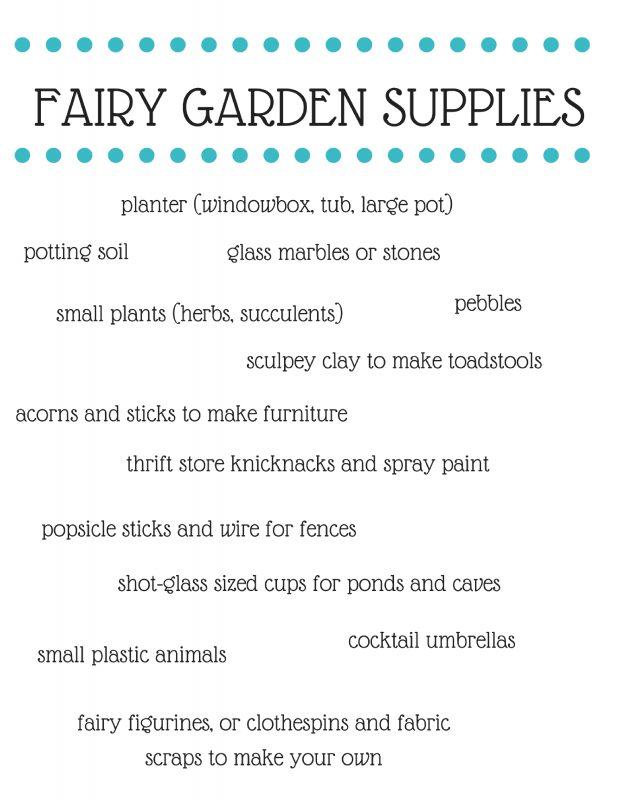 Your list of must-have fairy garden supplies -- try the items listed here, plus a healthy imagination, and make a delightful, magical fairy garden kids will love!