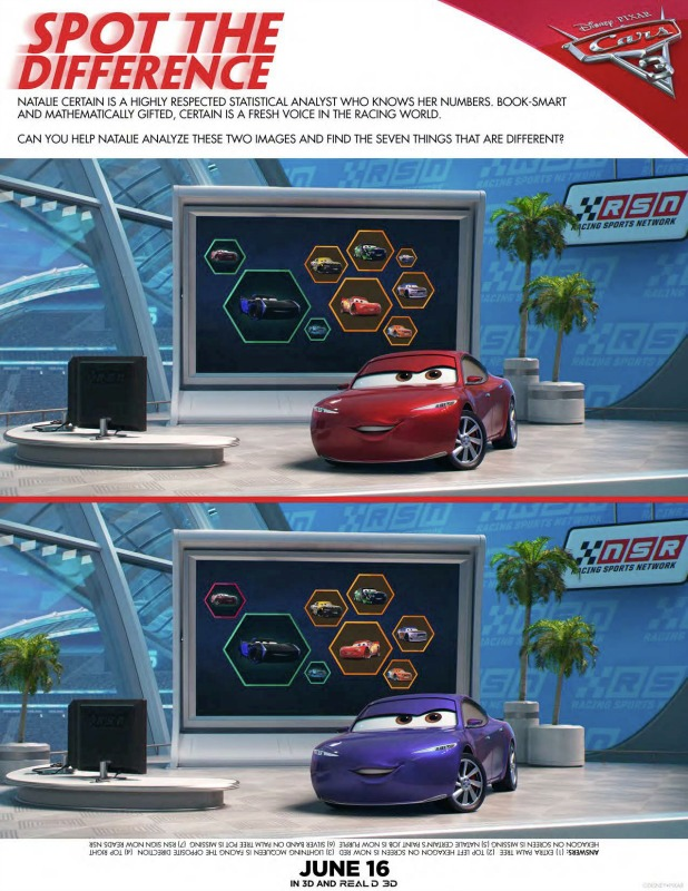 Cars 3 spot the difference game