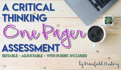 A Critical Thinking One Pager Assessment