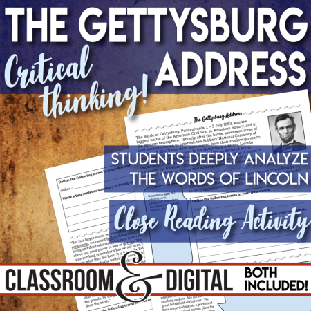 The Gettysburg Address Close Reading Activity