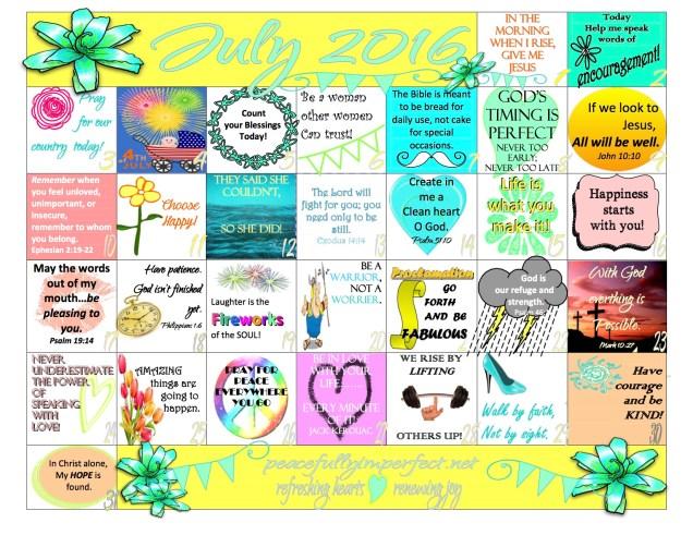 July Calendar 2016
