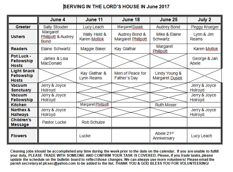 2017 June Serving Roster
