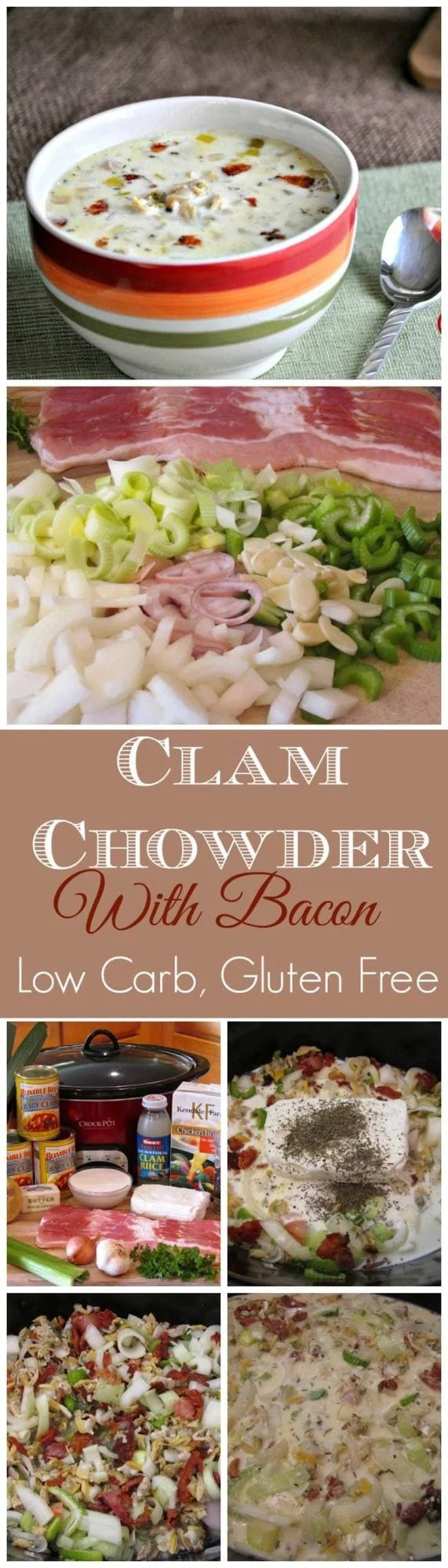 Slow Cooker Clam Chowder with Bacon - Low Carb, Gluten Free | Peace Love and Low Carb