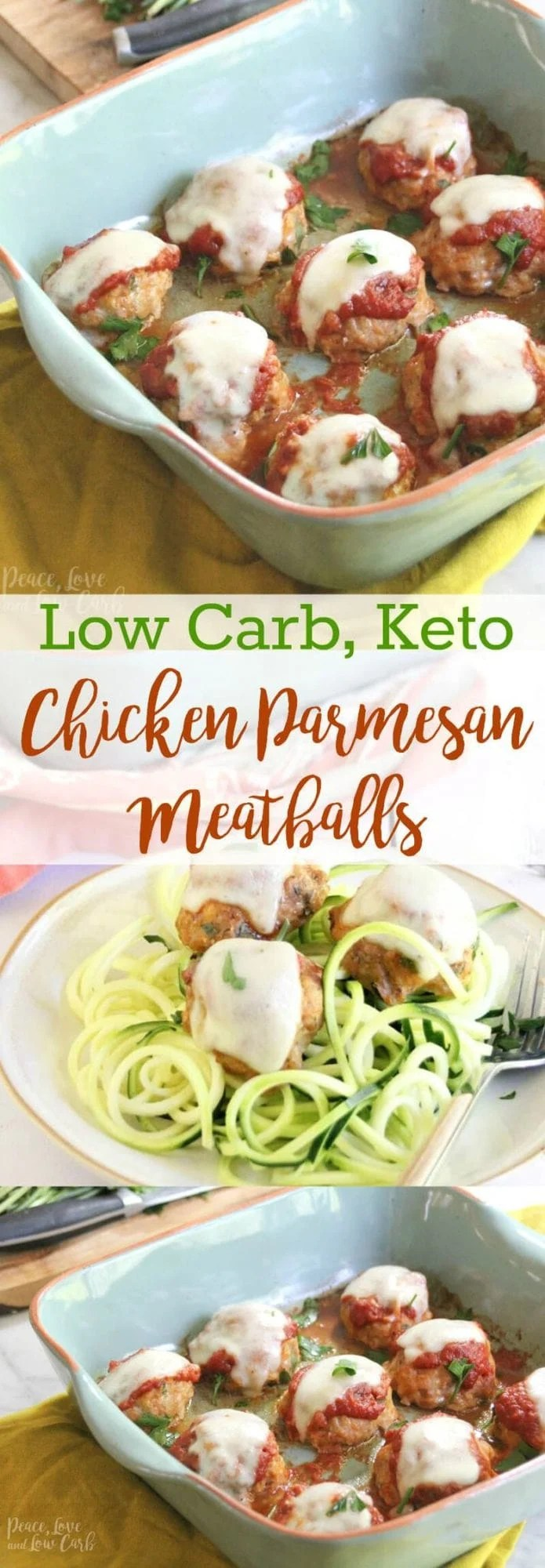 Low Carb Chicken Parmesan Meatballs | Peace Love and Low Carb