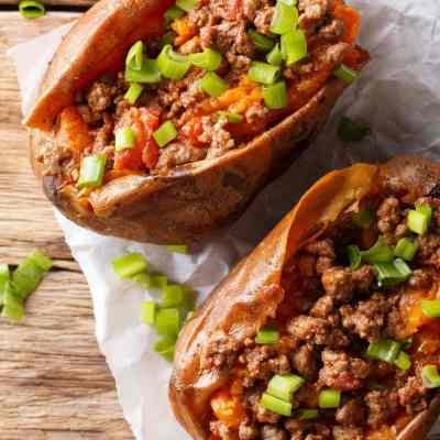 Low Carb Sloppy Joe Stuffed Sweet Potatoes   Peace Love and Low Carb