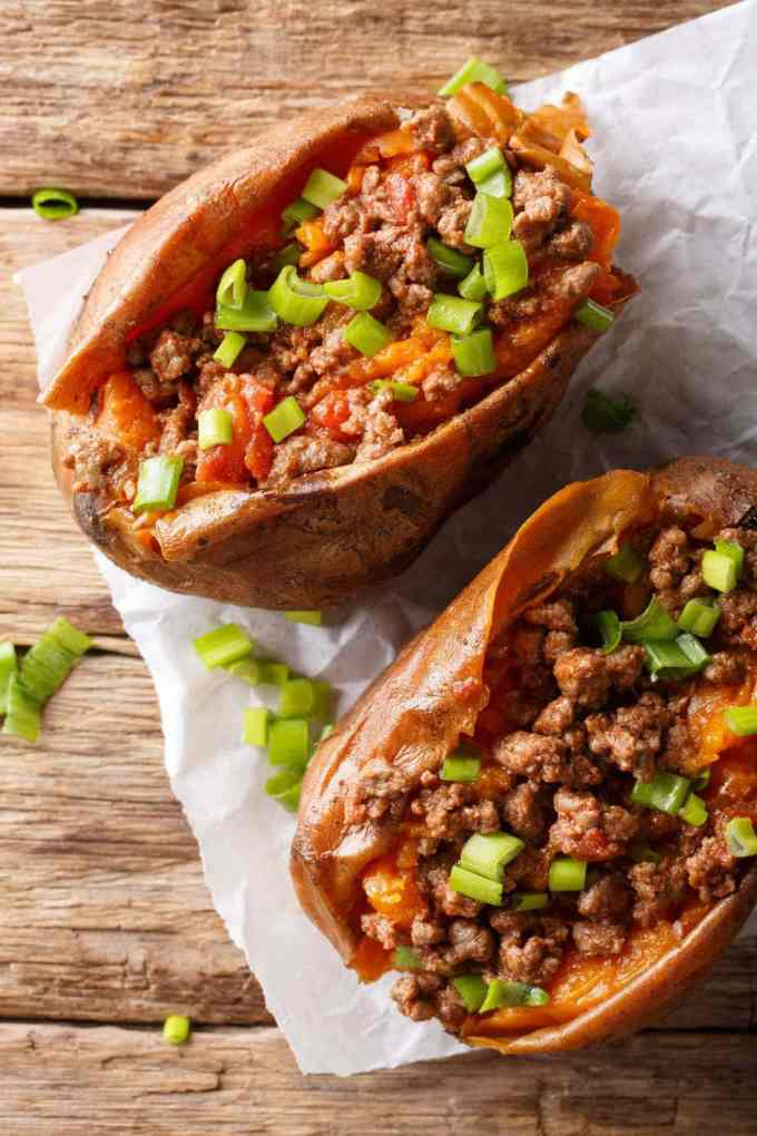 Low Carb Sloppy Joe Stuffed Sweet Potatoes | Peace Love and Low Carb