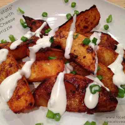 """Buffalo """"Potato"""" Wedges with Blue Cheese Drizzle"""