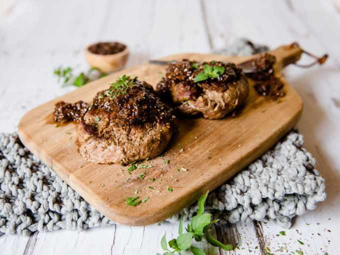 Steak with Balsamic Shallot Pan Sauce
