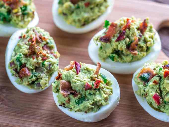 Bacon Guacamole Deviled Eggs | Peace Love and Low Carb