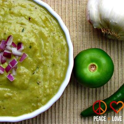 Roasted Tomatillo Avocado Salsa Verde