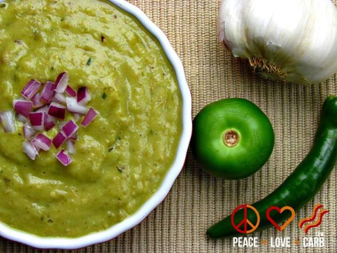 Keto Taco Tuesday Recipes - Roasted Tomatillo Avocado Salsa Verde