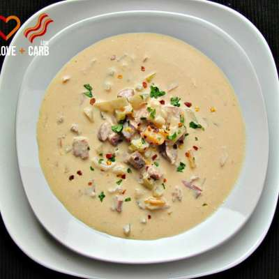 Smoked Sausage, Cheddar Beer Soup – Low Carb, Gluten Free