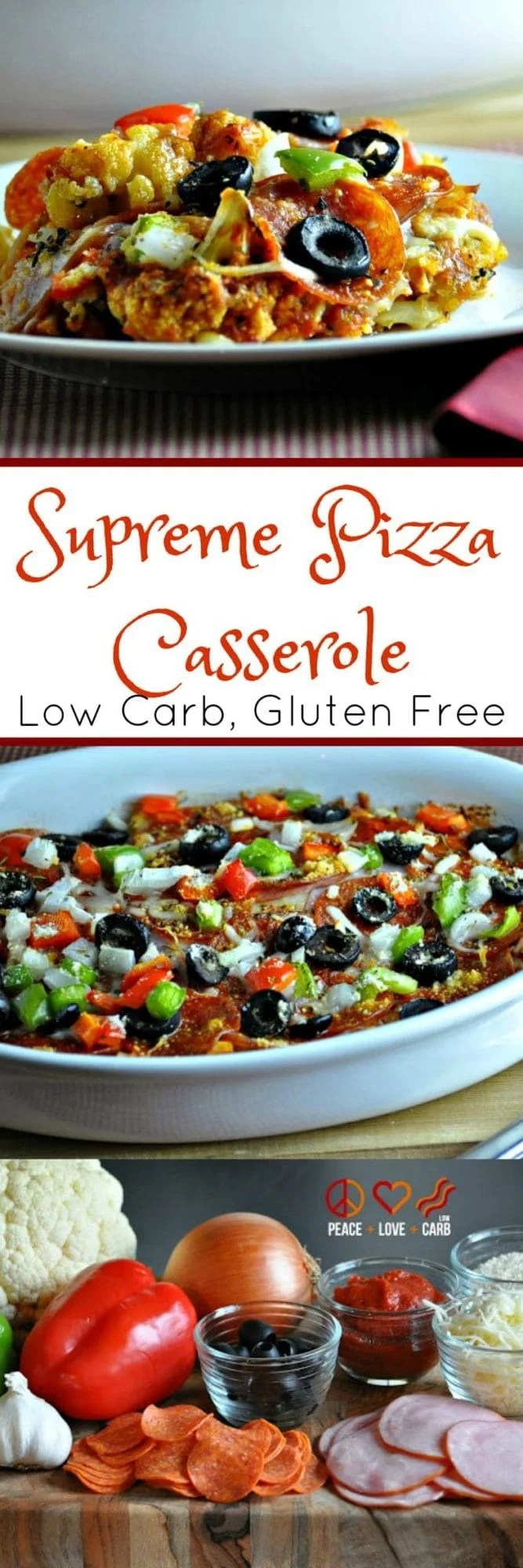 Supreme Pizza Cauliflower Casserole - Low Carb, Gluten Free | Peace Love and Low Carb