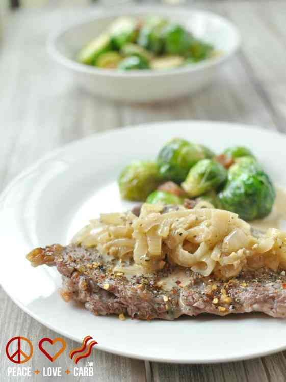 Broiled Skirt Steak with French Onion Gravy - Low Carb, Gluten Free | Peace, Love and Low Carb