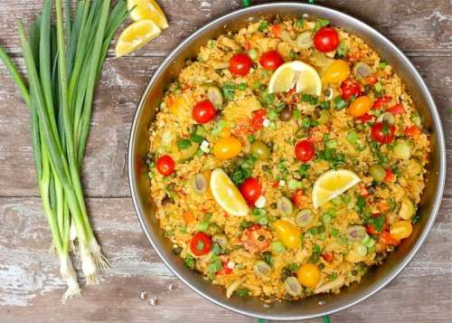 Cauliflower Rice Paella - 20 Low Carb and Gluten Free Cauliflower Rice Recipes | Peace Love and Low Carb
