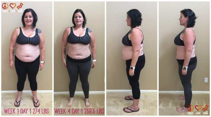 Week 1 Day 1 and Week 4 Day 1 Side by Side Comparison - My 100 Pound Journey 15.5 lbs lost. 84.4 to go   Peace Love and Low Carb